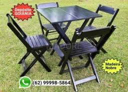 CJ Mesa Premium Novo Preta Madeira Maciça Dobrável 70x70 Cadeiras dobráveis Madesil Madore