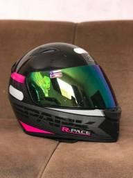 Capacete EBF New Spark Race Preto/Rosa