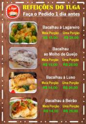 Comida Portuguesa, confecionada por Cozinheiro Português