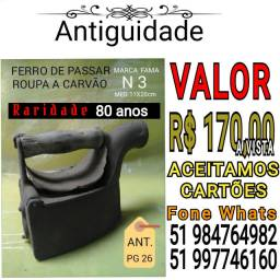 FERRO DE PASSAR ROUPA A CARVÃO COM 80 ANOS