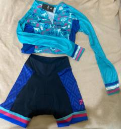 Conjunto ciclista feminino marca nine
