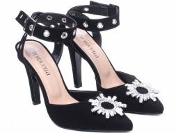 Sapato Feminino Scarpin Torricella Com Ilhós Na Cor Prata e Pedraria Mod.:66085A