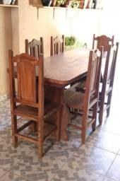 Mesa de madeira vintage maciça com 6 cadeiras