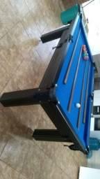 Mesa Tentação de Sinuca e Bilhar Cor Tabaco Tecido Azul Mod. WDYA5545