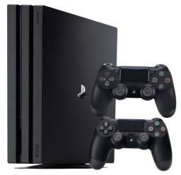 PS4 Pro com 2 controles, caixa, fone e cabos