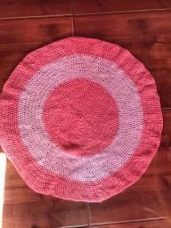 Tapete de lã crochê redondo