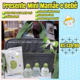 Presente natura mamãe e bebê miniatura com bolsa de passeio