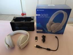 Headset Wireless Playstation New Gold Branco