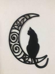 Quadro Decorativo MDF 3mm Gato Sentando na Lua