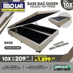 Título do anúncio: Base Baú Queen Veludo Bege