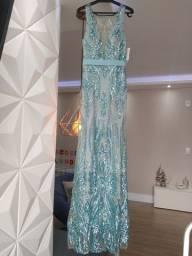 Vestido de festa Luxo - Azul Tiffany