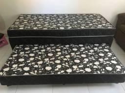 Cama Box solteirão de molas com cama auxiliar