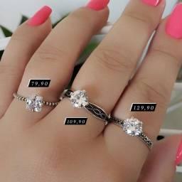 Anéis solitários Femininos prata925