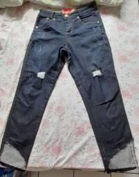 Calça jeans cintura alta customizada