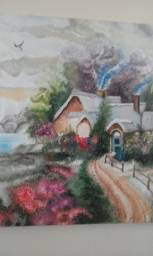 Pintura espátulada em tela