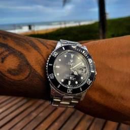 Relógio Unissex Rolex Dourao Prata Catraca Giratória Novo