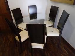 Conjunto de Jantar. Mesa + 6 Cadeiras. Mobiliadora Lider! 1.40 x 1.40m. Novíssimo! Lindo!