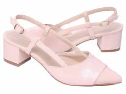 Sapato Scarpin Nobuck Rosê Com Verniz Rosê Salto Tipo Cubano Mod.SM102.509C