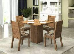Mesa de jantar dália com tampo de madeira e 4 cadeiras C442