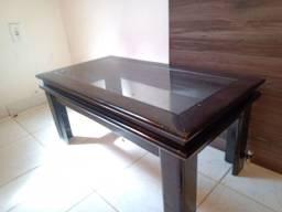 Centro de madeira maciça com Vidro