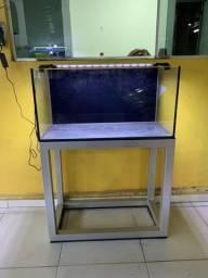 Vendo aquário 80cmx40cmx40cm + luminária + suporte