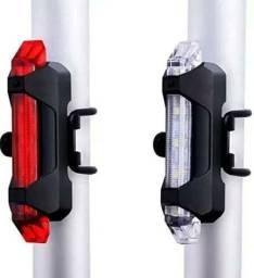 Lanterna Traseira Para Bicicleta Recarregável USB 5 LEDS Vermelha