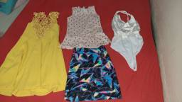 Vestido, conjunto, short saia, cropped