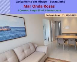Excelente  Lançamento:  Mar Onda Rosas, 2 quartos, 52 m², 1 vaga, Miragem