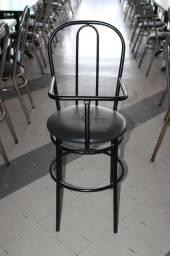 Cadeira Alta para alimentação / Infantil / Cadeirão / em Tecido / Ferro Preto 97 cm x 37