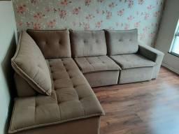 Sofá Retrátil com chaise plataforma