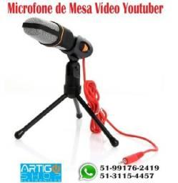 Microfone Condensador Tripe De Mesa P2 Gravação Vídeo Youtube