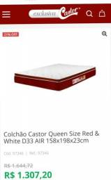 Colchão castor queen size red & white d33