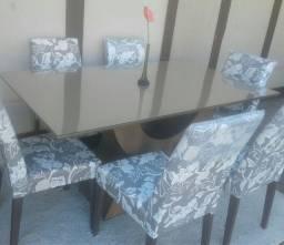Conjunto de Jantar Novo com mesa tampo e vidro com 06cadeiras estofadas e madeira