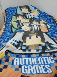 Cobre leito Authentic games com porta travesseiro