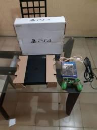 Ps4 slim 500gb completo, caixa, cabos, controle e jogo.