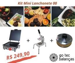 Título do anúncio: Kit Mini Lanchonete - Chapa de Lanche + Cortador Batata Palito + Abafador Aluminio