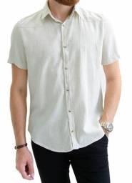 Camisa social masculina cor bege tamanho M,G