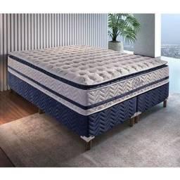 Conjunto R1275 Colchão Base Box King. D33, Molas pocket, Pillow e interno em espuma gel