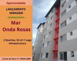 Lançamento Mar Onda Rosas, 2 quartos, 52 m², 1 vaga, Loteamento Miragem , Buraquinho