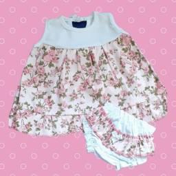 Vestido de bebê com calcinha luxo
