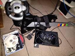 Título do anúncio: Kit PS2 com 20 jogos um controle original guitarra Multilaser  volante