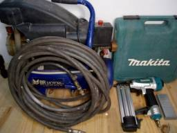 Pinador pneumático Makitta, capacidade de 15 a 50 mm + Compressor (aceito cartão)