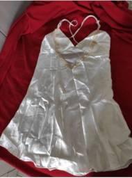 Camisola de cetim branco