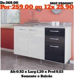 Balcão de Pia 1,20 - Duas Portas 3 Gavetas - Balcão de Cozinha -