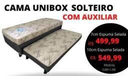 Título do anúncio: Home Cama Box Conjugado de Espuma Solteiro c/ Cama Auxiliar Preto Floral 88x188x52
