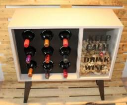 Adega Retrô Para 09 Vinhos E Porta Rolhas