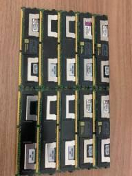 Lote com 10 pentes de memórias de servidor de 5 8 GB & 5 4 GB funcionando