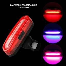 Lanterna traseira farol bike bicicleta tricolor 100 lumens recarregável forte USB