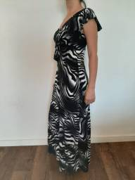 Vestido de festa preto e branco / animal print