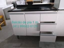 Pia Balcão de pia 1m com tampo de marmorite
